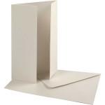 Perlemorskort med kuvert, 10,5x15 cm, råhvid, 10 sæt