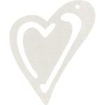 Skævt hjerte, 55x45 mm, råhvid, 10 stk.