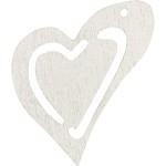Skævt hjerte, 25x22 mm, råhvid, 20 stk.
