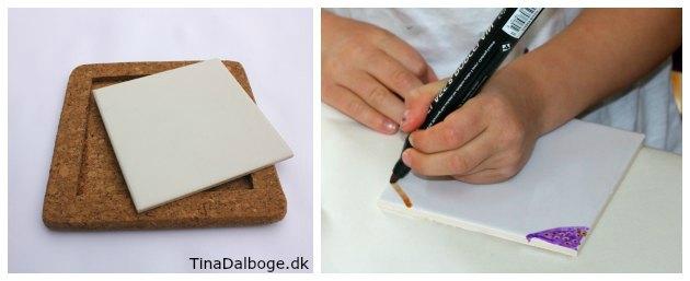 DIY bordskåner i kork med porcelænskakkel som børn kan male på med porcelæntuscher fra kreahobshop