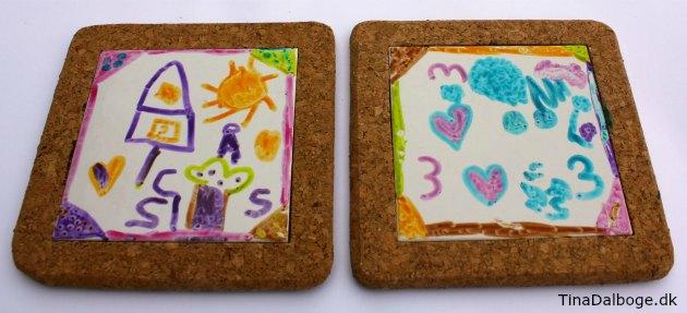 ide til kreative ting børn kan lave som gaver bordskåner med korkramme og porcelænskakkel fra kreahobshop