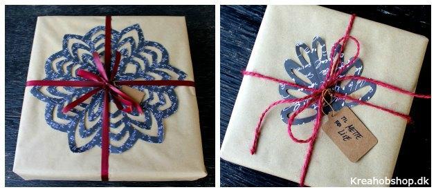 juleindpakning med udklip gavepapir og gavebånd fra kreahobshop