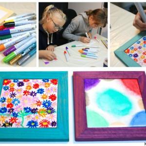 bordskåner malet af børn som gave