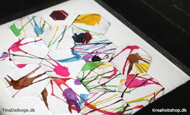 børn laver billeder med akvarelmaling og udstanser