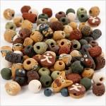 Keramikperler, str. 7-18 mm, hulstr. 2-4 mm, ass. farver, , 300g