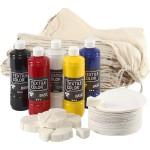 Kreakit, Skoposer, 33 stk, 5x500 ml textilmaling, svampe