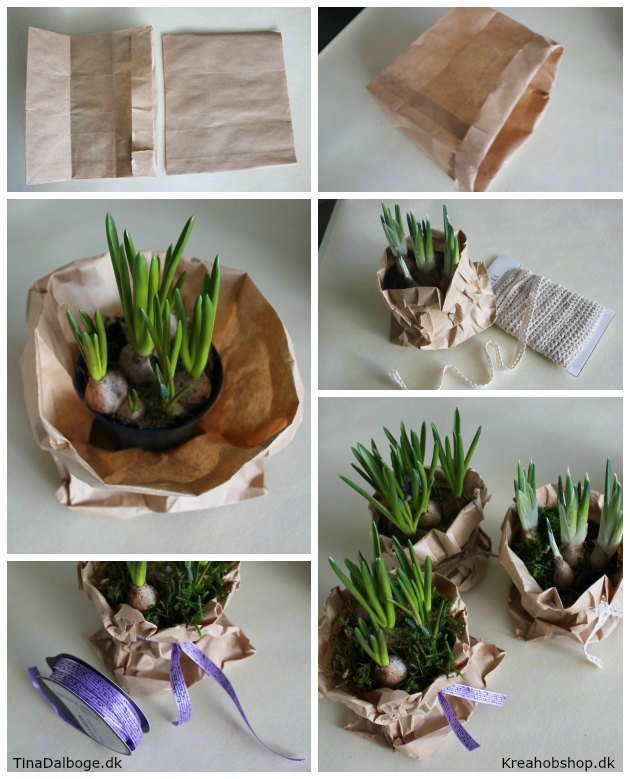 blomster i papirsposer i stedet for skjulere - bordpynt til fester