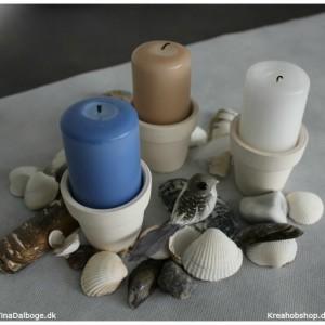 borddekoration og lys med natur og strand materialer fra kreahobshop.dk