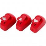 Stansejern, str. 16 mm, rød, stjerne, hjerte, juletræ, 1sæt