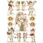 Glansbilleder, ark 16,5x23,5 cm, Store og små engle, 3ark