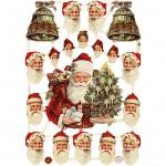 Glansbilleder, ark 16,5x23,5 cm, Julemænd og klokker, 3ark