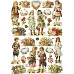 Glansbilleder, ark 16,5x23,5 cm, Børn og blomster, 3ark