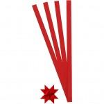 Stjernestrimler, B: 10 mm, dia. 4,5 cm, rød, 100stk.