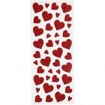 Glitterstickers, ark 10x23 cm, rød, hjerter, 2ark