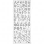 Glittterstickers, ark 10x23 cm, sølv, bogstaver, 2ark