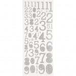 Glittterstickers, ark 10x23 cm, sølv, tal, 2ark