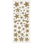 Glitterstickers, ark 10x23 cm, guld, stjerner, 2ark