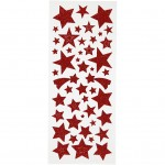 Glitterstickers, ark 10x23 cm, rød, stjerner, 2ark