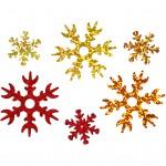 Julepailletmix, dia. 25+45 mm, guld, kobber, rød, iskrystaller, 30g
