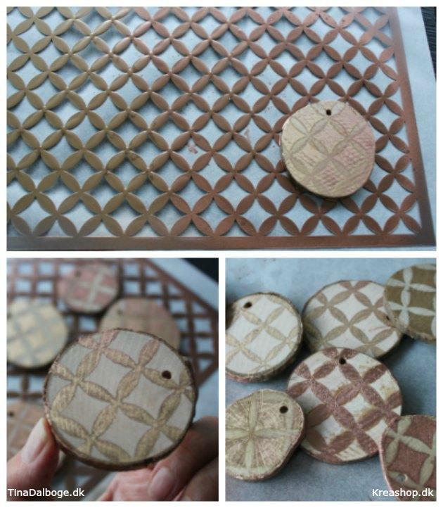 alternativ julepynt af træskiver med tryk