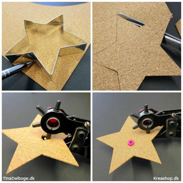 diy julepynt lavet af korkplade formet som en stjerne med perle i midten