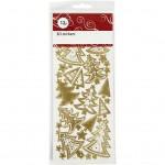 Stickers, ark 22,5x10 cm, guld, juletræer, 1ark