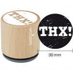 Træstempel, dia. 30 mm, H: 35 mm, THX!, 1stk.