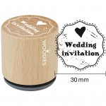Træstempel, dia. 30 mm, H: 35 mm, Wedding invitation, 1stk.