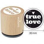 Træstempel, dia. 30 mm, H: 35 mm, true love, 1stk.