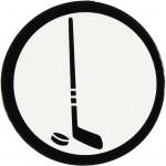 Kartonmærkat, dia. 25 mm, hvid/sort, ishockeystav, 20stk.