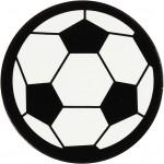 Kartonmærkat, dia. 25 mm, hvid/sort, fodbold, 20stk.