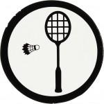 Kartonmærkat, dia. 25 mm, hvid/sort, badmintonketcher + fjerbold, 20stk.