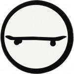 Kartonmærkat, dia. 25 mm, hvid/sort, skateboard, 20stk.