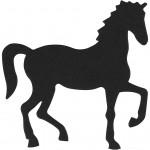 Kartonmærkat, str. 60x64 mm, sort, hest, 20stk.