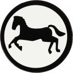 Kartonmærkat, dia. 25 mm, hvid/sort, hest, 10stk.