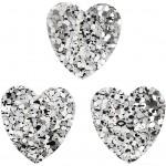 Pailletter, str. 15 mm, sølv, hjerter, 10g