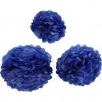 Papirpomponer, dia. 20+24+30 cm, 16 g, mørk blå, 3stk.