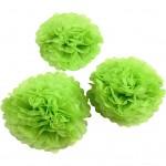 Papirpomponer, dia. 20+24+30 cm, 16 g, lime grøn, 3stk.