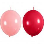 Balloner, lys rød, rød, kædeballoner, 8stk.