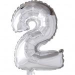 Folieballon, H: 41 cm, sølv, 2, 1stk.