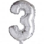 Folieballon, H: 41 cm, sølv, 3, 1stk.