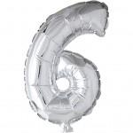 Folieballon, H: 41 cm, sølv, 6, 1stk.