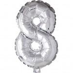 Folieballon, H: 41 cm, sølv, 8, 1stk.