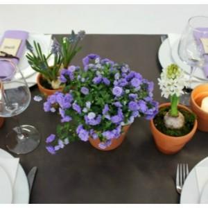 bordpynt med rødlers urtepotter og forårsblomster tinadalboge.dk