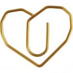 Klips, hjerte, str. 30x20 mm, guld, 6stk.
