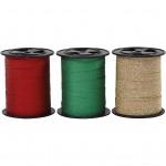 Gavebånd, B: 10 mm, grøn, guld, rød, glitter, 3x15m