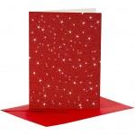 Kort og kuverter, kort str. 10,5x15 cm, kuvert str. 11,5x16,5 cm, rød, glitter, 4sæt
