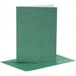 Kort og kuverter, kort str. 10,5x15 cm, kuvert str. 11,5x16,5 cm, grøn, glitter, 4sæt