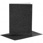 Kort og kuverter, kort str. 10,5x15 cm, kuvert str. 11,5x16,5 cm, sort, glitter, 4sæt