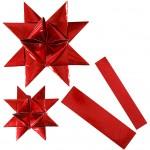 Stjernestrimler, B: 25+40 mm, diam. 11,5+18,5 cm, rød, outdoor, 16stk.